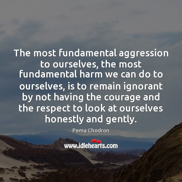 Image, The most fundamental aggression to ourselves, the most fundamental harm we can