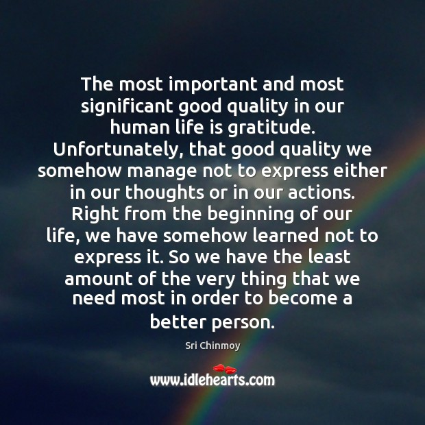 The most important and most significant good quality in our human life Image