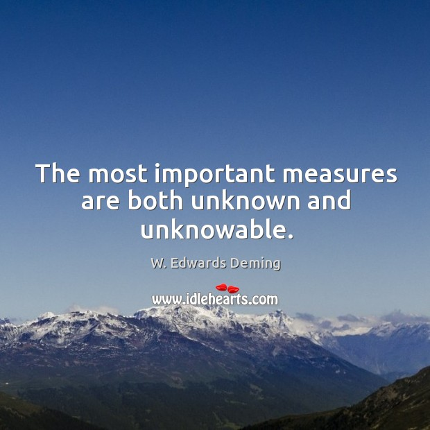 The most important measures are both unknown and unknowable. W. Edwards Deming Picture Quote