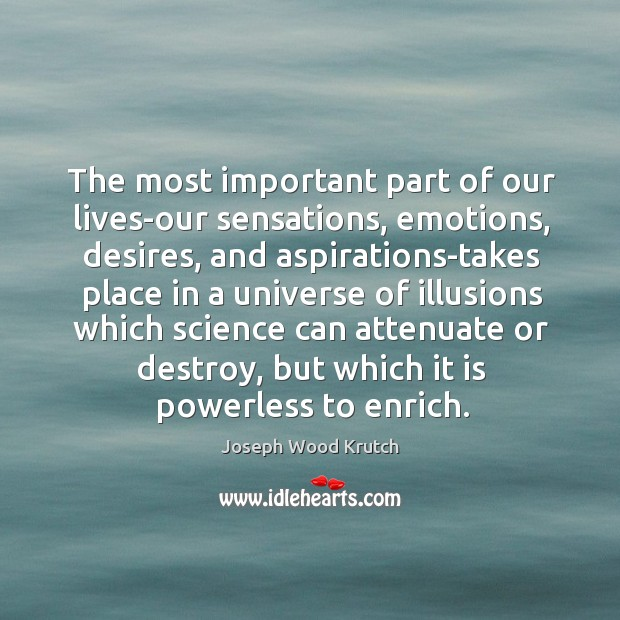 The most important part of our lives-our sensations, emotions, desires, and aspirations-takes Joseph Wood Krutch Picture Quote
