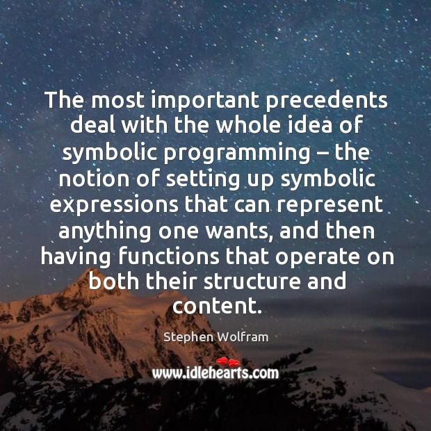 The most important precedents deal with the whole idea of symbolic programming Image