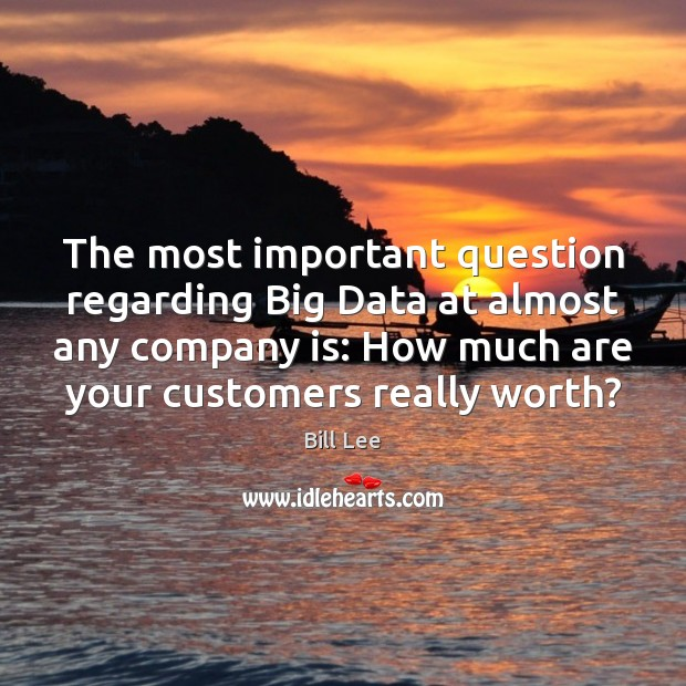 The most important question regarding Big Data at almost any company is: Bill Lee Picture Quote