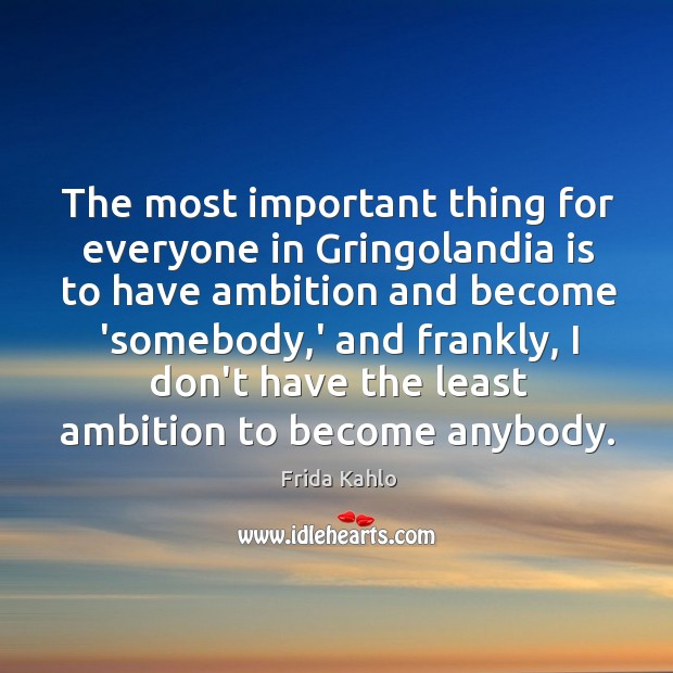 The most important thing for everyone in Gringolandia is to have ambition Image