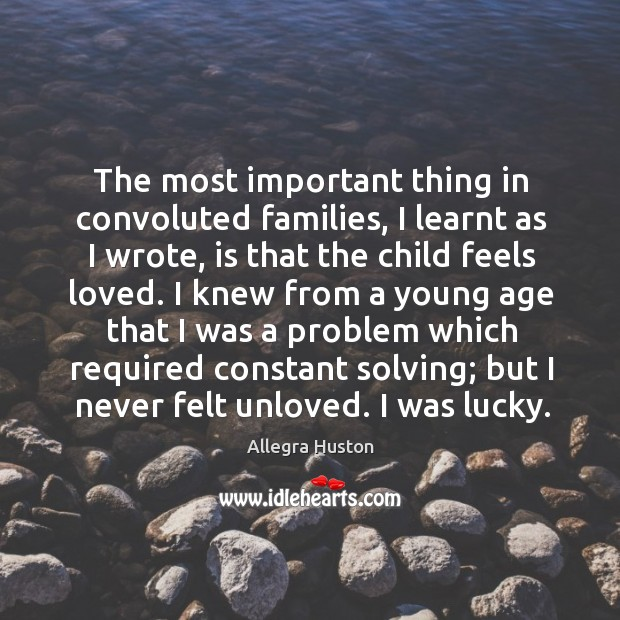 Image, The most important thing in convoluted families, I learnt as I wrote,