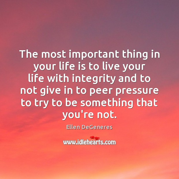 The most important thing in your life is to live your life Ellen DeGeneres Picture Quote