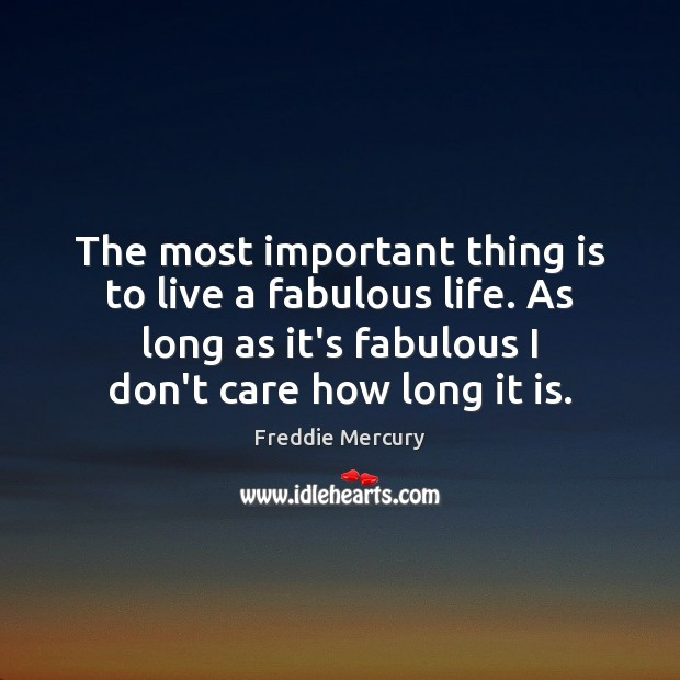The most important thing is to live a fabulous life. As long Freddie Mercury Picture Quote