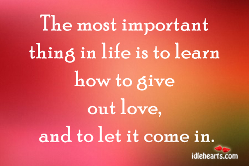 The Most Important Thing In Life Is To…