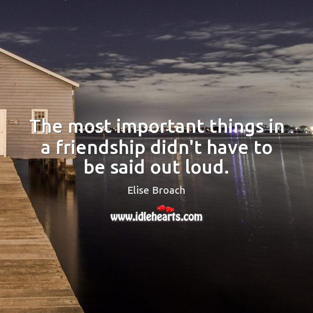 The most important things in a friendship didn't have to be said out loud. Elise Broach Picture Quote