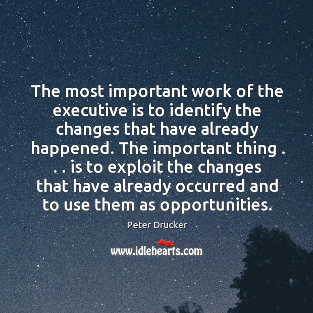 The most important work of the executive is to identify the changes Image