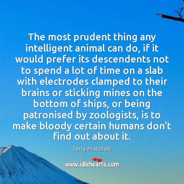 The most prudent thing any intelligent animal can do, if it would Terry Pratchett Picture Quote