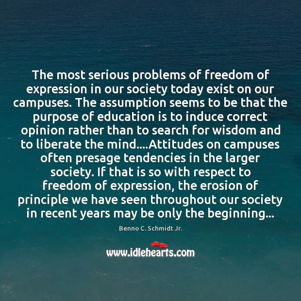 The most serious problems of freedom of expression in our society today Liberate Quotes Image