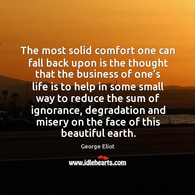 Image, The most solid comfort one can fall back upon is the thought that the business of one's life