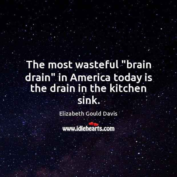 "Image, The most wasteful ""brain drain"" in America today is the drain in the kitchen sink."
