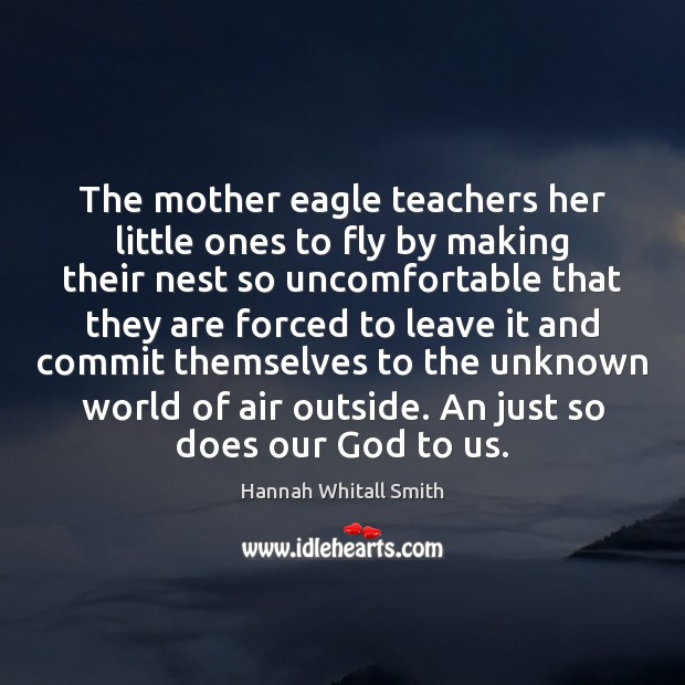 The mother eagle teachers her little ones to fly by making their Image