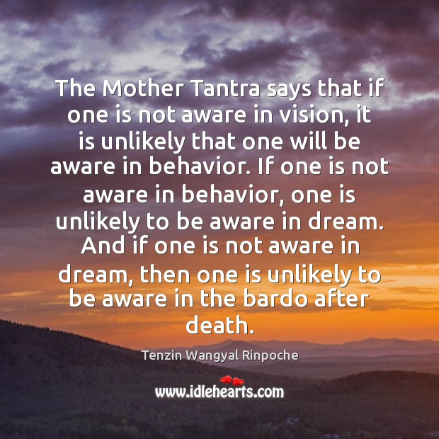 The Mother Tantra says that if one is not aware in vision, Behavior Quotes Image