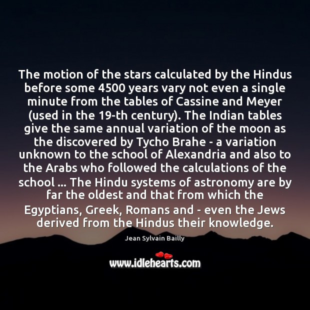 The motion of the stars calculated by the Hindus before some 4500 years Image
