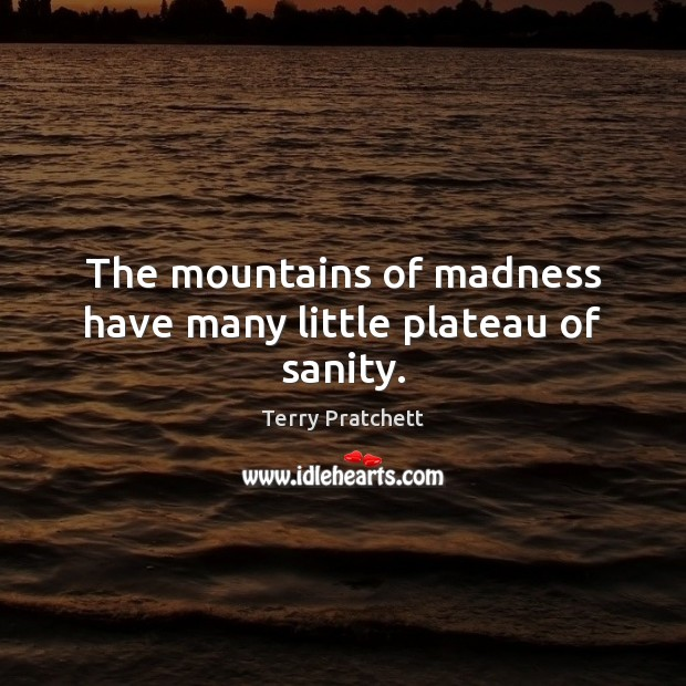 The mountains of madness have many little plateau of sanity. Terry Pratchett Picture Quote