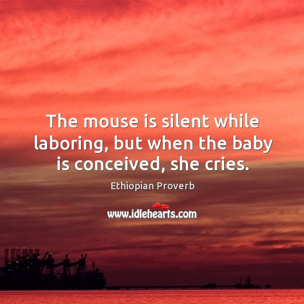 The mouse is silent while laboring, but when the baby is conceived, she cries. Ethiopian Proverbs Image