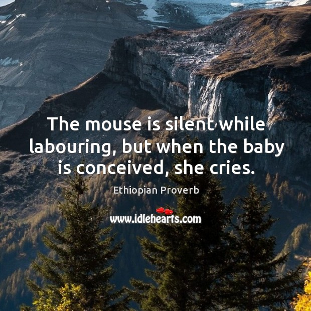The mouse is silent while labouring, but when the baby is conceived, she cries. Ethiopian Proverbs Image