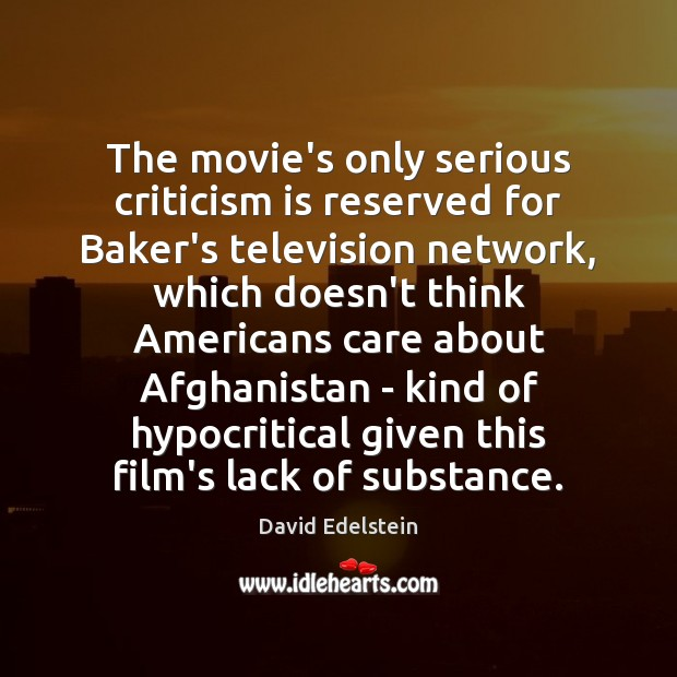 The movie's only serious criticism is reserved for Baker's television network, which Image