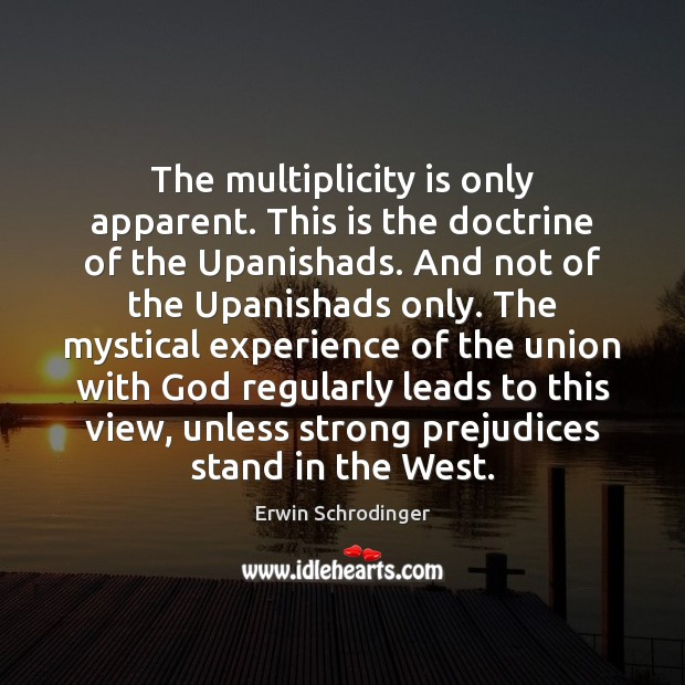 The multiplicity is only apparent. This is the doctrine of the Upanishads. Erwin Schrodinger Picture Quote