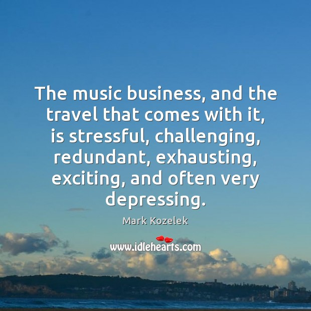 The music business, and the travel that comes with it, is stressful, Image