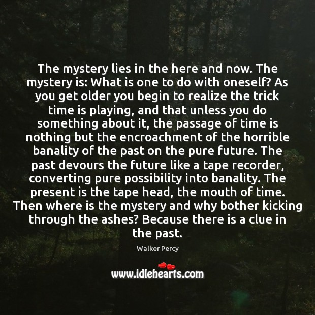 The mystery lies in the here and now. The mystery is: What Walker Percy Picture Quote