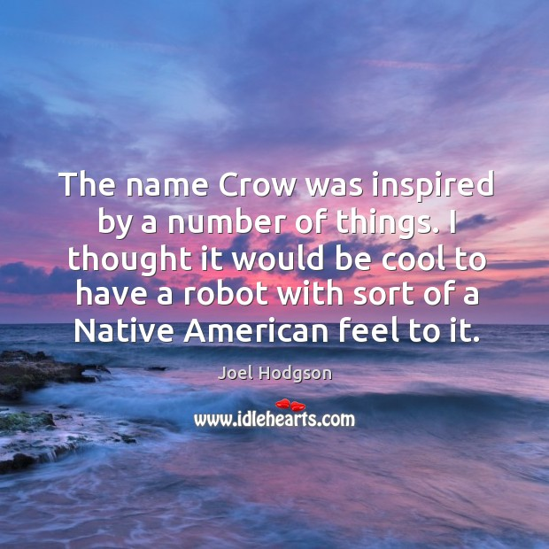 The name crow was inspired by a number of things. I thought it would be cool to have a robot with sort of a native american feel to it. Image