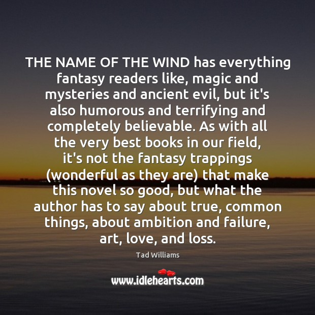 Image, THE NAME OF THE WIND has everything fantasy readers like, magic and
