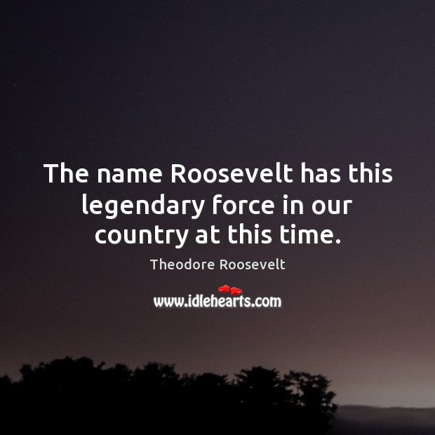 Image, The name Roosevelt has this legendary force in our country at this time.