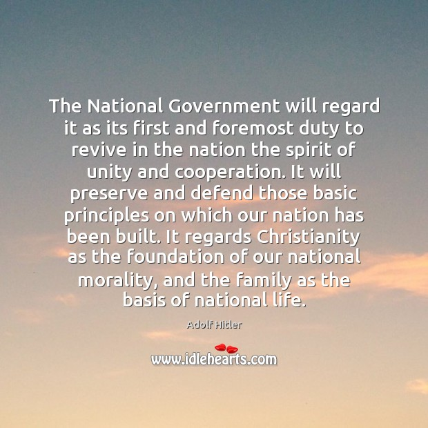 Image, The National Government will regard it as its first and foremost duty