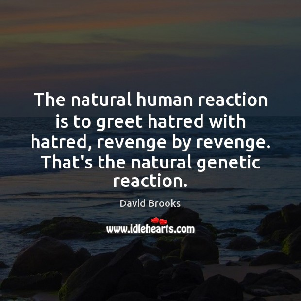 The natural human reaction is to greet hatred with hatred, revenge by David Brooks Picture Quote