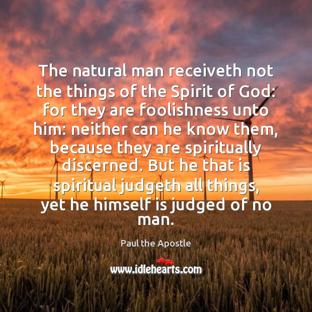 The natural man receiveth not the things of the Spirit of God: Paul the Apostle Picture Quote