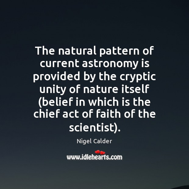 Image, The natural pattern of current astronomy is provided by the cryptic unity