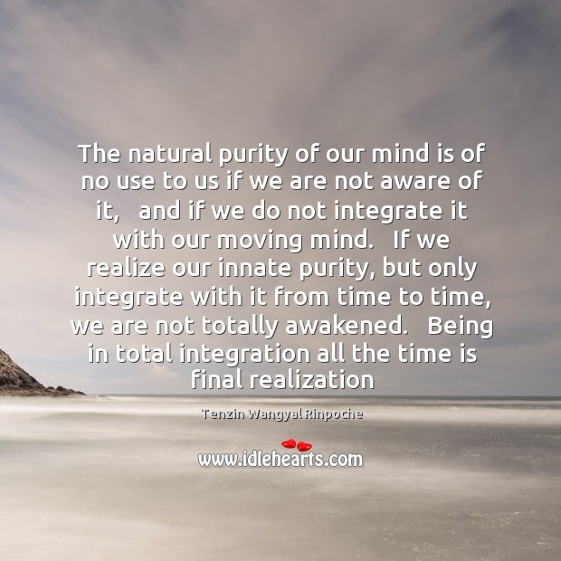 The natural purity of our mind is of no use to us Image