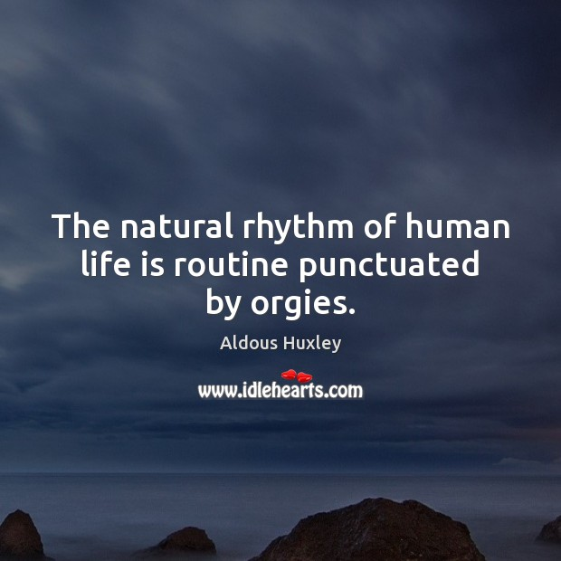 Image, The natural rhythm of human life is routine punctuated by orgies.