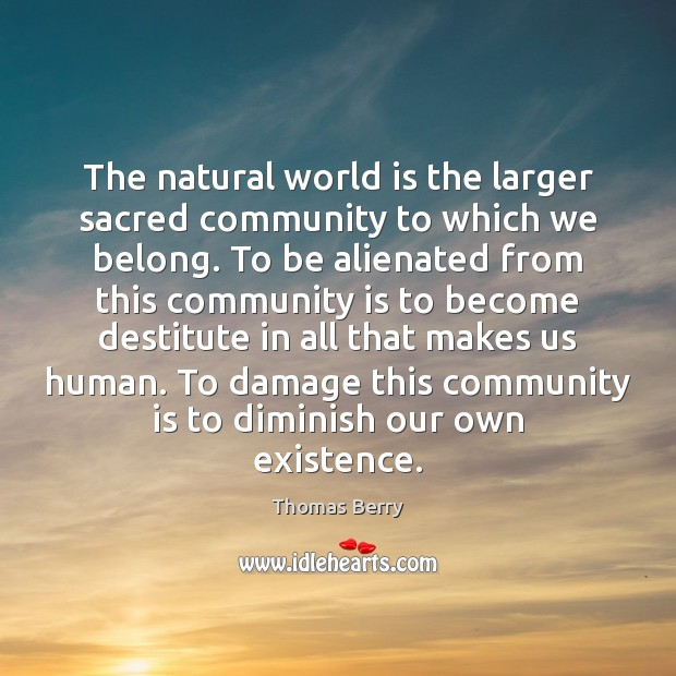 The natural world is the larger sacred community to which we belong. Thomas Berry Picture Quote