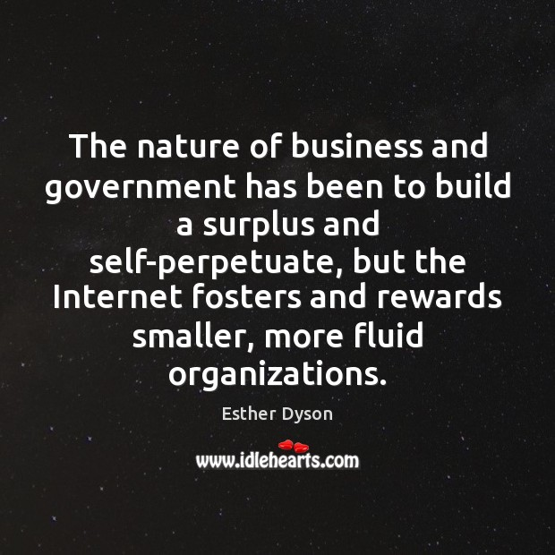 The nature of business and government has been to build a surplus Esther Dyson Picture Quote
