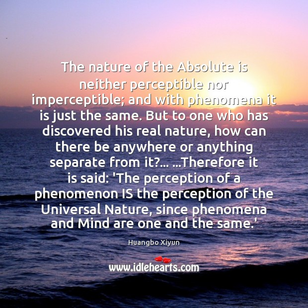 The nature of the Absolute is neither perceptible nor imperceptible; and with Image