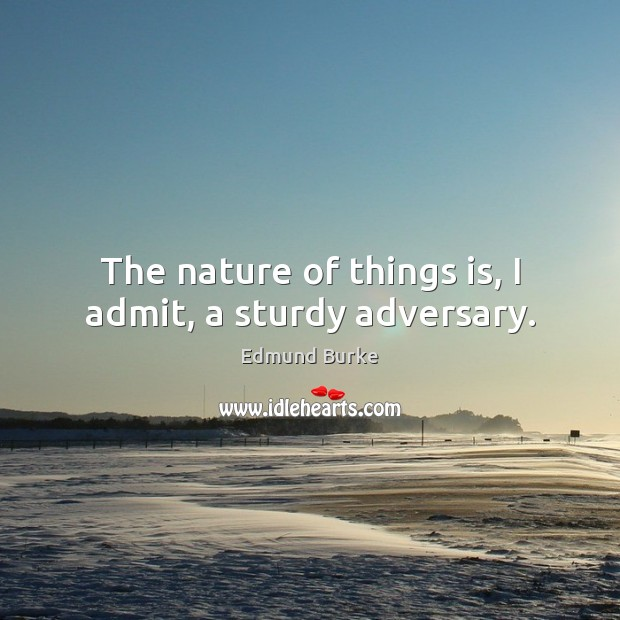 The nature of things is, I admit, a sturdy adversary. Edmund Burke Picture Quote