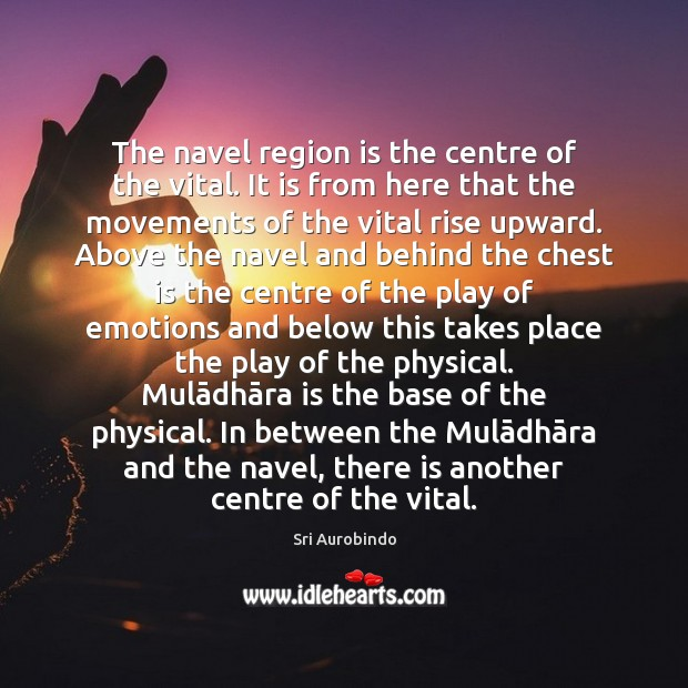 The navel region is the centre of the vital. It is from Sri Aurobindo Picture Quote