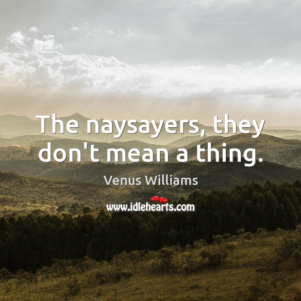 The naysayers, they don't mean a thing. Venus Williams Picture Quote