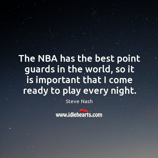The nba has the best point guards in the world, so it is important that I come ready to play every night. Image
