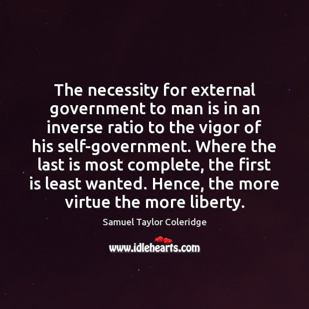 The necessity for external government to man is in an inverse ratio Image