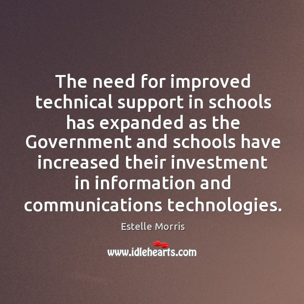 The need for improved technical support in schools has expanded as the government Image