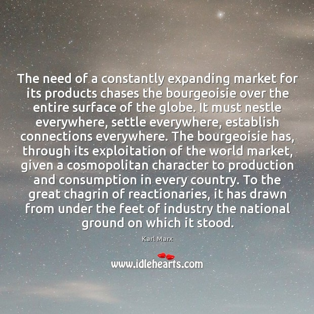 The need of a constantly expanding market for its products chases the Image