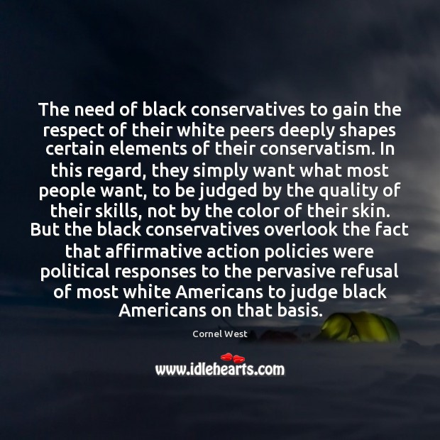 Image, The need of black conservatives to gain the respect of their white