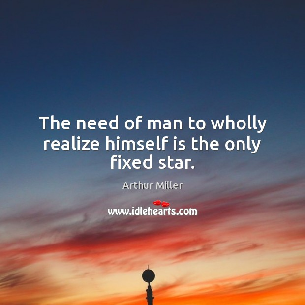 Image, The need of man to wholly realize himself is the only fixed star.