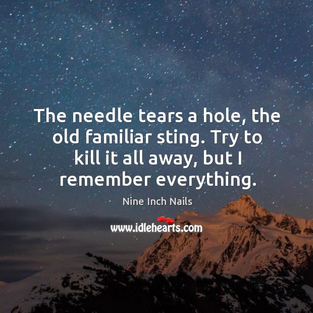 The needle tears a hole, the old familiar sting. Try to kill it all away, but I remember everything. Image