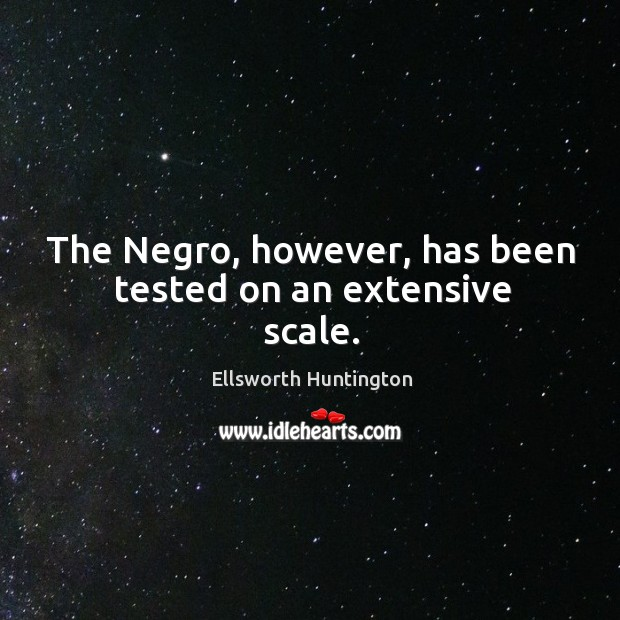 The negro, however, has been tested on an extensive scale. Ellsworth Huntington Picture Quote